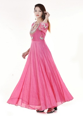Pink long flared dress