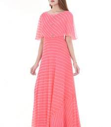 Pink leheriya cape dress
