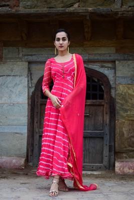 Crimson red leheriya anarkali dress with matching dupatta