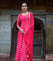 Crimson red leheriya anarkali dress with matching dupatta