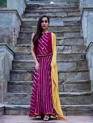 Purple wine dress with light golden dupatta
