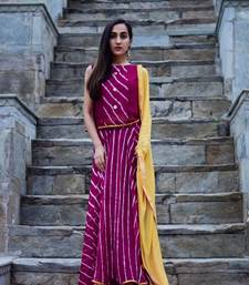 Purple wine dress with light golden dupatta
