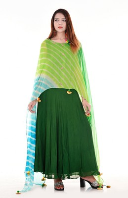Green lehariya cape dress
