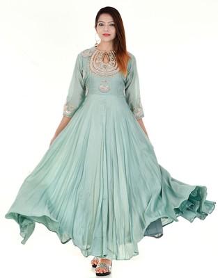 Pista green anarkali dress