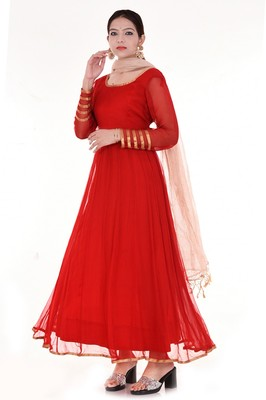 Red chiffon anarkali full set