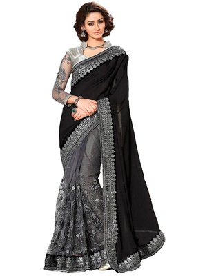 Black embroidered georgette saree with blouse