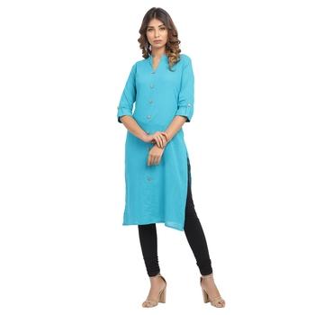 Turquoise plain cotton cotton-kurtis