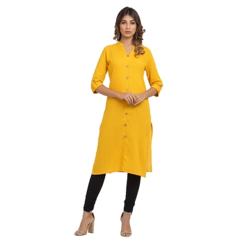 Yellow plain cotton cotton-kurtis