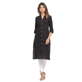 Black plain cotton cotton-kurtis