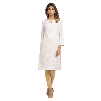 White printed cotton cotton-kurtis