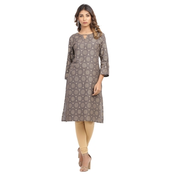 Brown printed cotton cotton-kurtis