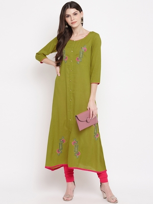Green embroidered cotton kurtis