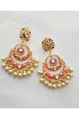 Gulabo Chandbali (Pink) Earrings
