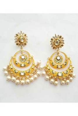 Gulabo Chandbali (Yellow) Earrings
