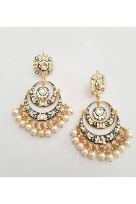 Gulabo Chandbali (Blue) Earrings