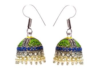 Oxidised Silver Jhumka Earrings