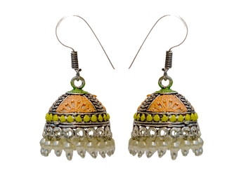 Oxidised Silver Jhumka Earrings