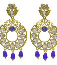kundan stone floral blue beads Earrings
