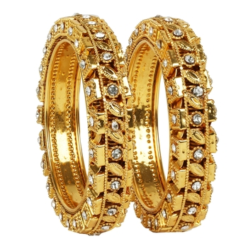 khetlazee gold plated alloy metal bangles set
