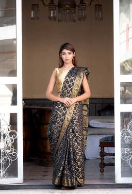 Black art silk zari saree with border
