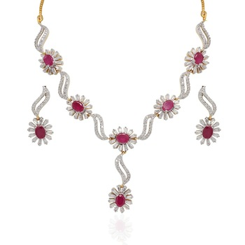 Heena Trendy Collection Floral Necklace Set @ HJNL59