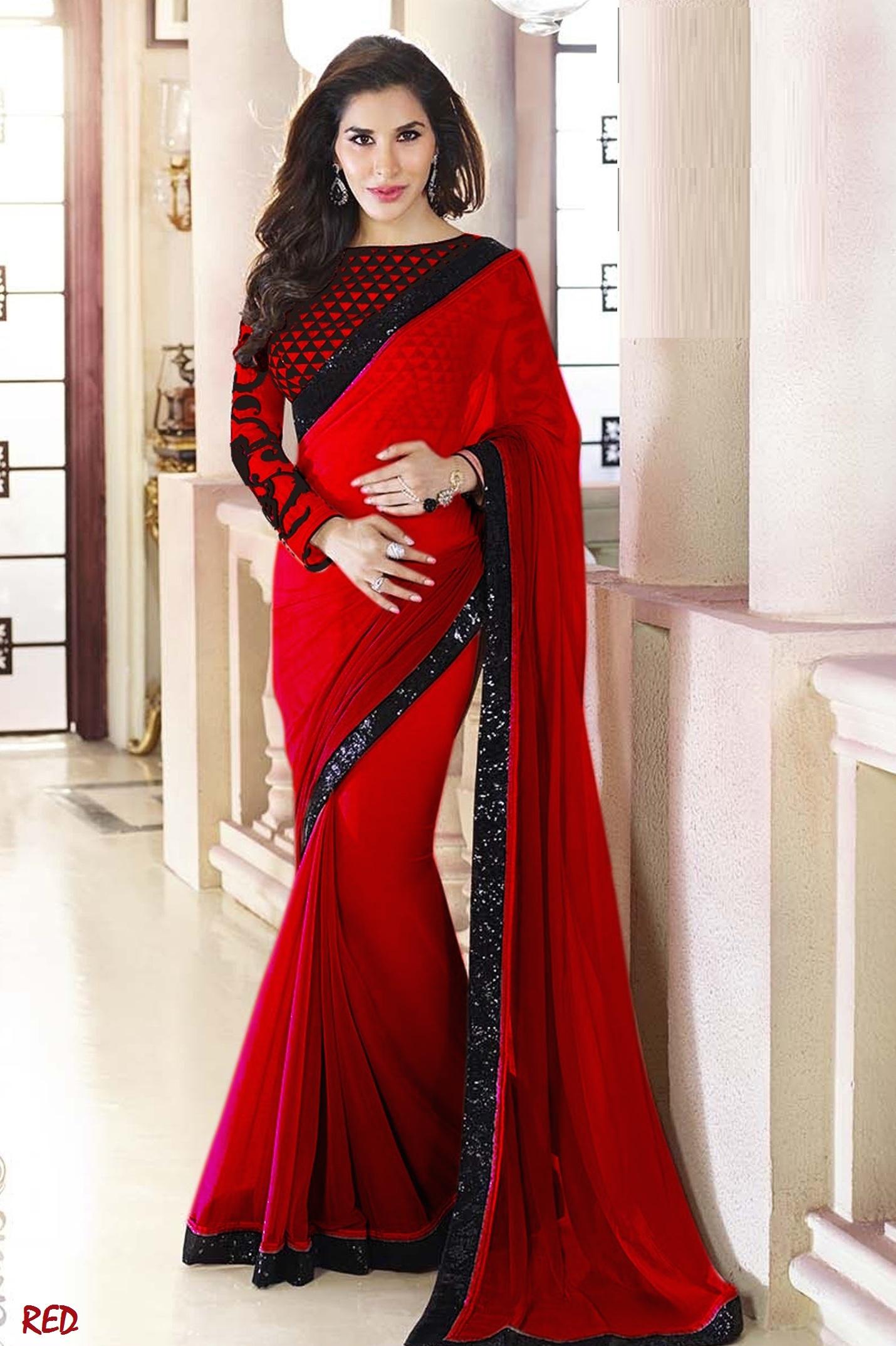 c0b61e6e68d4e5 Red Plain Georgette designer saree with blouse - Manjula Feb - 382077