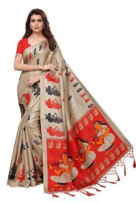 Chiku printed khadi saree with blouse