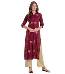 Wine embroidered rayon kurti