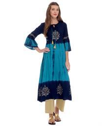 Navy blue printed rayon kurti