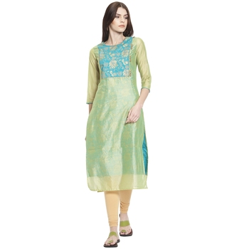Green printed polyester kurti