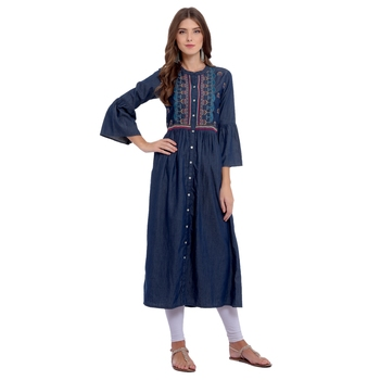 Navy blue embroidered cotton kurti