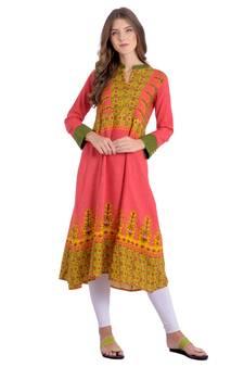 336addad1f Pink Kurti Online | Buy Plain Pink Kurtis with Embroidery Neck ...
