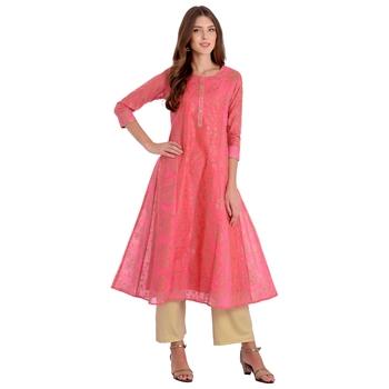 Pink printed chanderi kurti