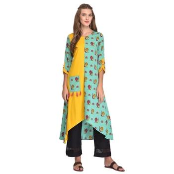 Yellow printed polyester kurti