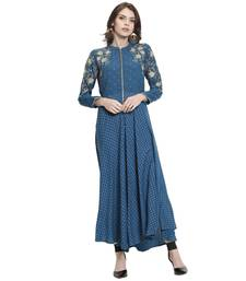 Turquoise embroidered rayon kurti