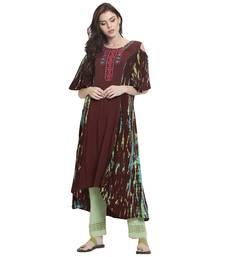 Brown embroidered rayon kurti