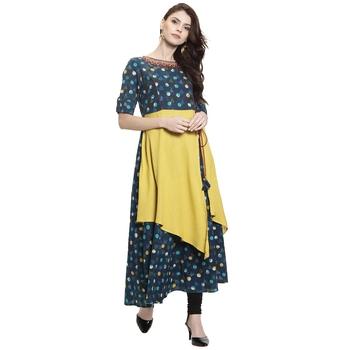 Blue embroidered rayon kurti