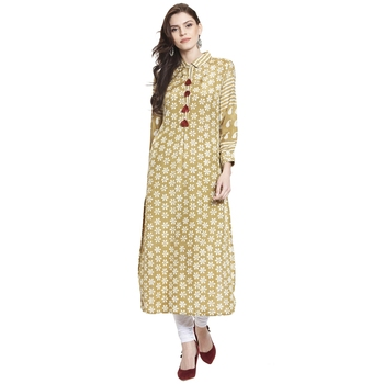 Green printed cotton kurti