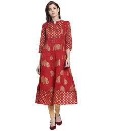 Red printed chanderi kurti