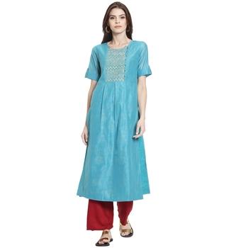 Sky blue embroidered chanderi kurti
