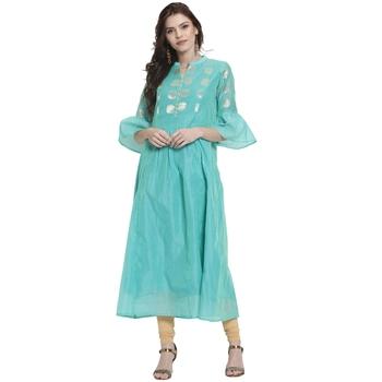Turquoise printed chanderi kurti
