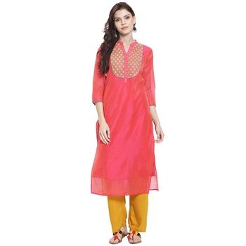 Pink embroidered chanderi kurti