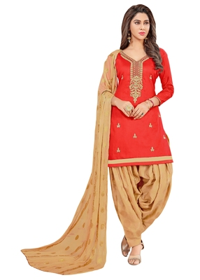 Red Embroidered Faux Cotton Salwar
