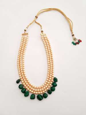 Green Tumble And Pearl Necklace