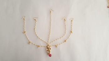 Pearl String With Kundan And Ruby Mathapatti