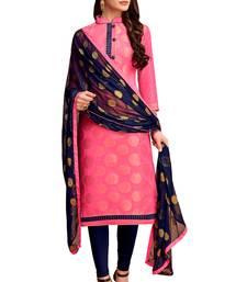 Pink woven banarasi art silk salwar