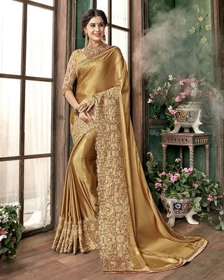 Golden Floral Embroidered Saree With Blouse