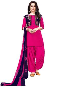 f076ab8aed Rani-pink embroidered cotton salwar