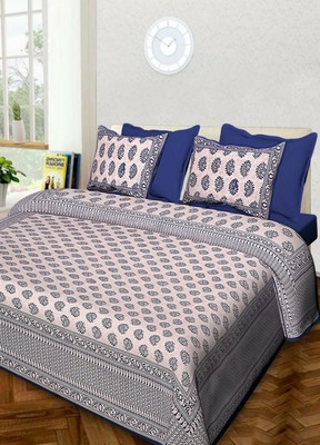 Rudra Jaipuri Prints 100% Cotton Comfort  Double Bedsheets with 2 Pillow Cover