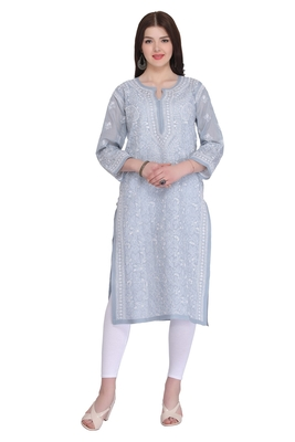 Grey Embroidered Cotton Chikankari Kurti